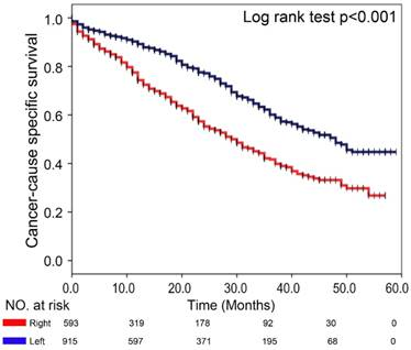 Association between Primary Tumor Location and Prognostic